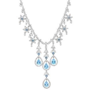 18k White Gold Necklace with 6.7ct TDW Diamonds and Topaz
