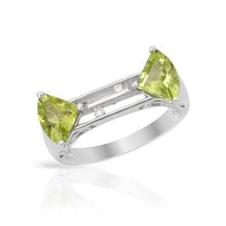 Ring with 1.73ct TW Diamonds and Peridots in 14K White Gold
