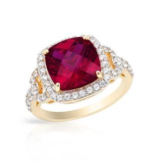 Ring with 6.35ct TW Created Ruby and Zircons in Yellow Gold