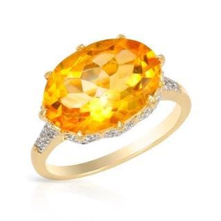 Ring with 5.52ct TW Citrine and Diamonds in Yellow Gold