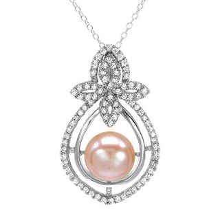 Necklace with 1.80ct TW Cubic Zirconia and 11.5mm Freshwater Pearl in 925 Sterling Silver