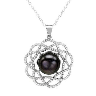 Necklace with 4.10ct TW Cubic Zirconia and 11.5mm Freshwater Pearl in 925 Sterling Silver