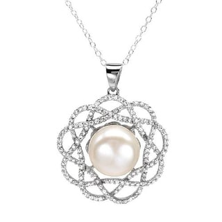 Necklace with 4.10ct TW Cubic Zirconia and 12.0mm Freshwater Pearl of 925 Sterling Silver