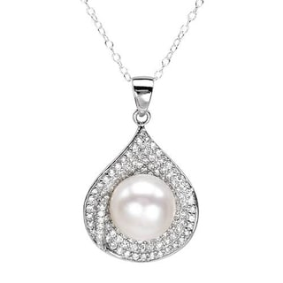 Necklace with 3.6ct TW Cubic Zirconia and 11.0mm Freshwater Pearl Crafted in 925 Sterling Silver