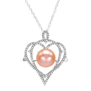 Heart Necklace with 2.4ct TW Cubic Zirconia and 10.5mm Freshwater Pearl Crafted in .925 Silver