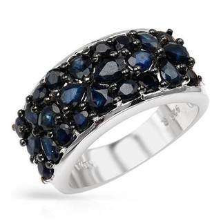 Sterling Silver Pear-cut Blue Sapphire Ring