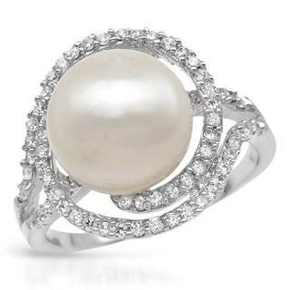 Sterling Silver 12mm Freshwater Pearl Cubic Zirconia Ring (Size 6)