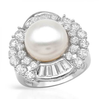 Sterling Silver/ 3.95ct W Cubic Zirconia/ 12mm Freshwater Pearl Ring
