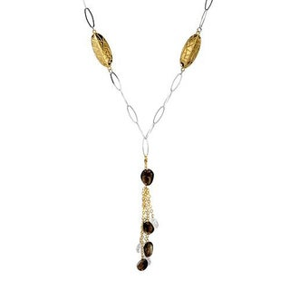 DV Italy Necklace with 51ct TW Quartz and Topazes Crafted in .925 Sterling Silver