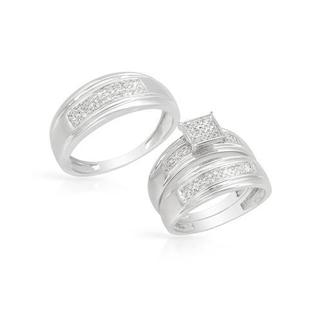 14k White Gold Diamond Matching His and Hers Wedding Ring Set