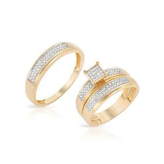 14K Yellow Gold Diamond Jewelry Engagement Set