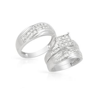 14k White Gold 1.1ct TDW Diamond Matching His and Hers Wedding Ring Set