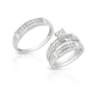14k White Gold 0.77ct TDW Diamond Matching His and Hers Wedding Ring Set