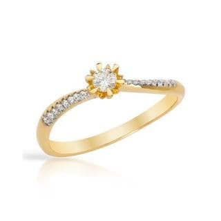 Solitaire Plus Ring with Diamonds 14K Yellow Gold