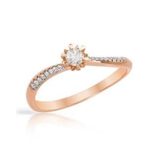 14k Rose Gold Diamond Solitaire Plus Engagment Ring