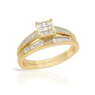 14k Yellow Gold Diamond Bridal Set