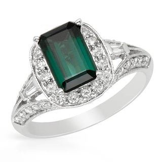 Cocktail Ring with 2.6ct TW Diamonds and Tourmaline of 14K White Gold