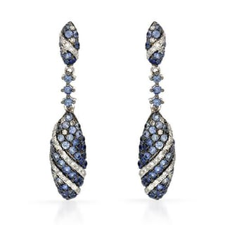 Vida Earrings with 1.3ct TW Diamonds and Sapphires in 14K White Gold