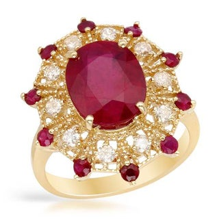 Cocktail Ring with 6ct TW Diamonds, Composite Rubies in 14K Yellow Gold
