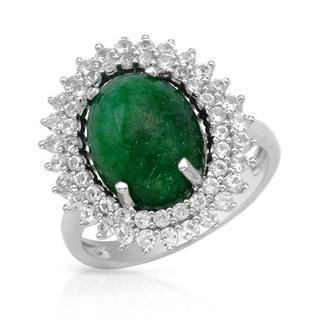 Cocktail Ring with 7.9ct TW Treated Emerald and Sapphires .925 Sterling Silver