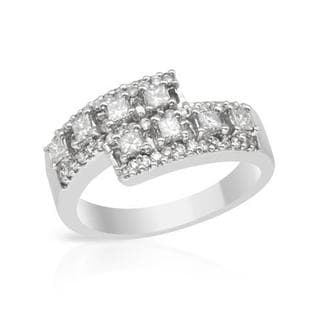 Ring with 0.7ct TW Princess-cut Diamonds in 18K White Gold