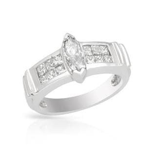18k White Gold 1.16ct TDW Princess-cut Diamond Solitaire Plus Engagement Ring