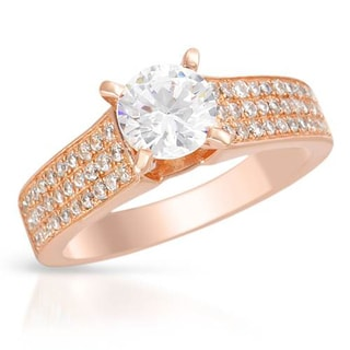 Cubic Zirconia Gold-plated Silver Ring