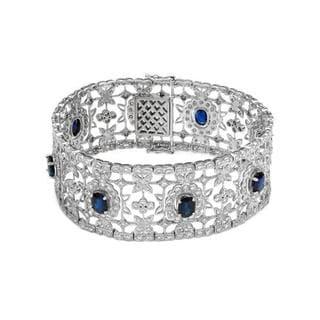 18K White Gold 17 1/2ct TW Diamond and Sapphire Bracelet