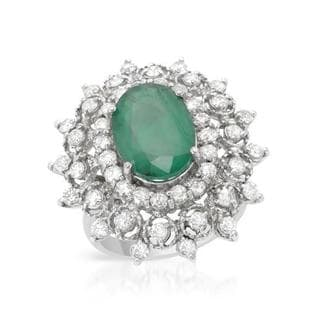 Cocktail Ring with 6.24ct TW Diamonds and Emerald 14K White Gold