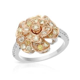 Ring with 1.24ct TW Natural Fancy Yellow Diamonds Crafted in 14K Two-tone Gold