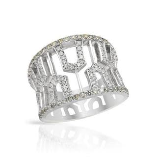Ring with 0.8ct TW Fancy Yellow enhanced Diamonds in 14K White Gold