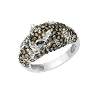 14k White Gold 1.05ct TDW Diamond and Emerald Cat Ring