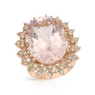 Cocktail Ring with 19.49ct TW Diamonds and Morganite Crafted in 14K Rose Gold