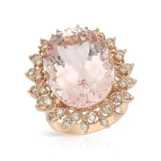 Cocktail Ring with 19.49ct TW Genuine Diamonds and Morganite Crafted in 14K Rose Gold