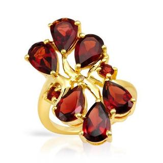 Ring with 8.36ct TW Diamond, Garnets of 14K/925 Gold-plated Silver