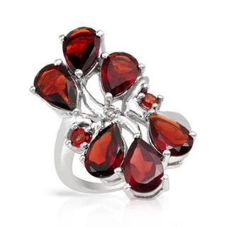 Ring with 8.36ct TW Diamond, Garnets in .925 Sterling Silver