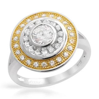 Ring with 1.9ct TW Cubic Zirconia Crafted in 18K/925 Gold-plated Silver