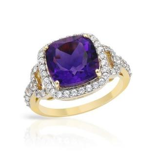 Ring with 5.1ct TW Amethyst and Zircons Yellow Gold