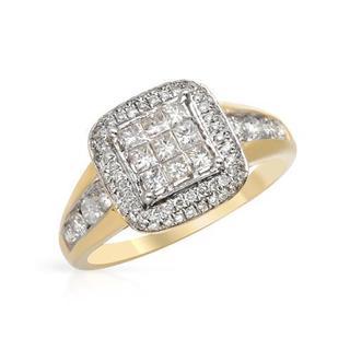 Yellow Gold 1ct TDW Princess-cut Diamond Engagement Ring
