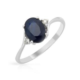 14K White Gold 1.73ct TW Diamond and Sapphire Ring