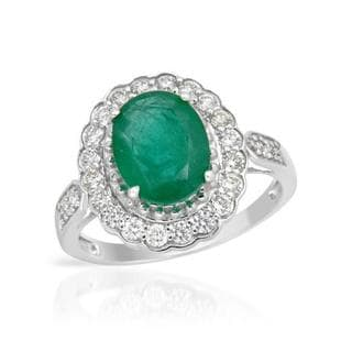 Ring with 2.43ct TW Diamonds and Emerald in 14K White Gold