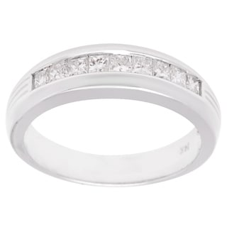 14k White Gold 0.79ct TDW Princess-cut Diamond Wedding Band