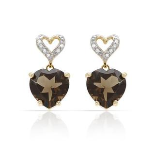 Heart Earrings with 6.31ct TW Diamonds and Topazes in Yellow Gold