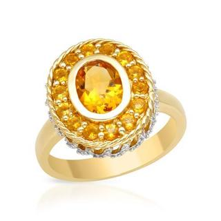 Ring with 1.65ct TW Genuine Citrines Crafted in Two-tone Gold
