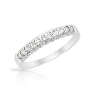 Ring with Genuine Diamonds 18K White Gold