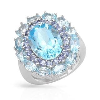 Cocktail Ring with 12.47ct TW Tanzanites, Topazes of .925 Sterling Silver