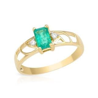 Ring with 0.6ct TW Diamonds and Created Emerald in 14K Yellow Gold