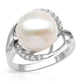 Ring with 0 1/2ct TW Cubic Zirconia and 12mm Freshwater Pearl Crafted in .925 Sterling Silver
