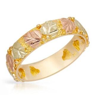 Two-Tone Black Hills Gold Leaf Motif Ring