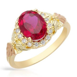 Black Hills Gold Ring with 2.06ct TW Diamonds and Created Ruby in Two-tone Gold